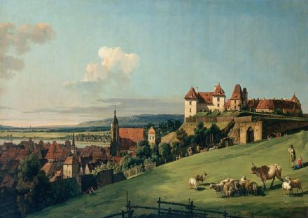 Bellotto, Bernardo: View of Pirna from the Sonnenstein Castle. Fine Art Print/Poster. Sizes: A4/A3/A2/A1 (001494)